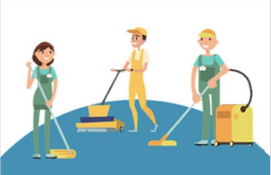 Equipe nettoyage entretien de locaux souriant et dynamique